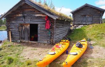 Klar for kajakkpadling i Sølensjøen
