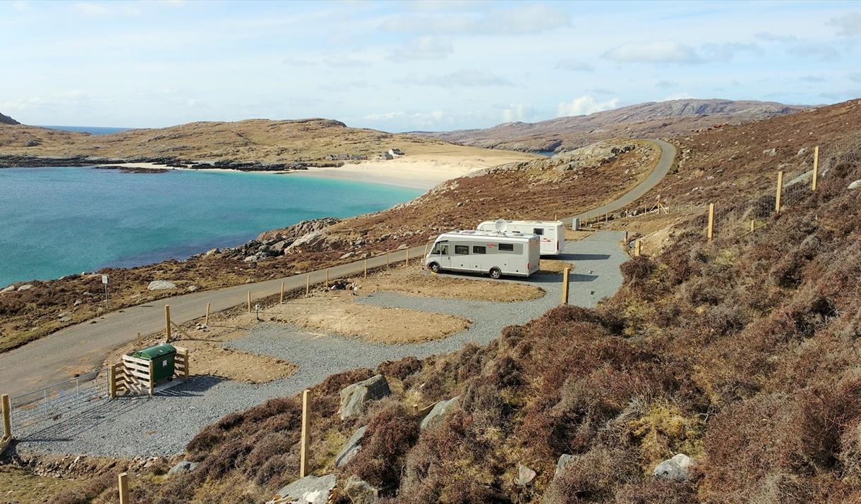 Huisinis Campervan Site overlooking Huisinis beach.