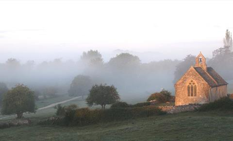 Widford Church on a misty morning ©Helena Sylvester