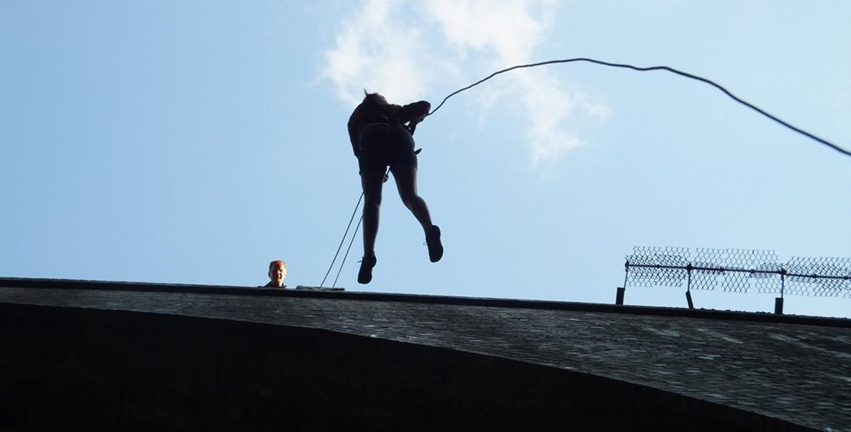 Abseiling 90ft off Millers Dale Bridge in the Peak District - April -July 23rd