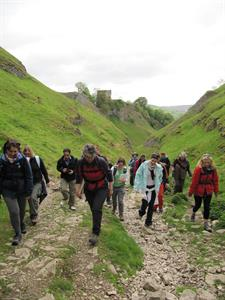 A group of twelve adult walkers in outdoor clothing are walking up a stony path facing the camera.
