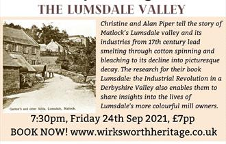 Poster for September 2021 heritage talk - The Lumsdale Valley, showing a sepia picture of Lumsdale Mill