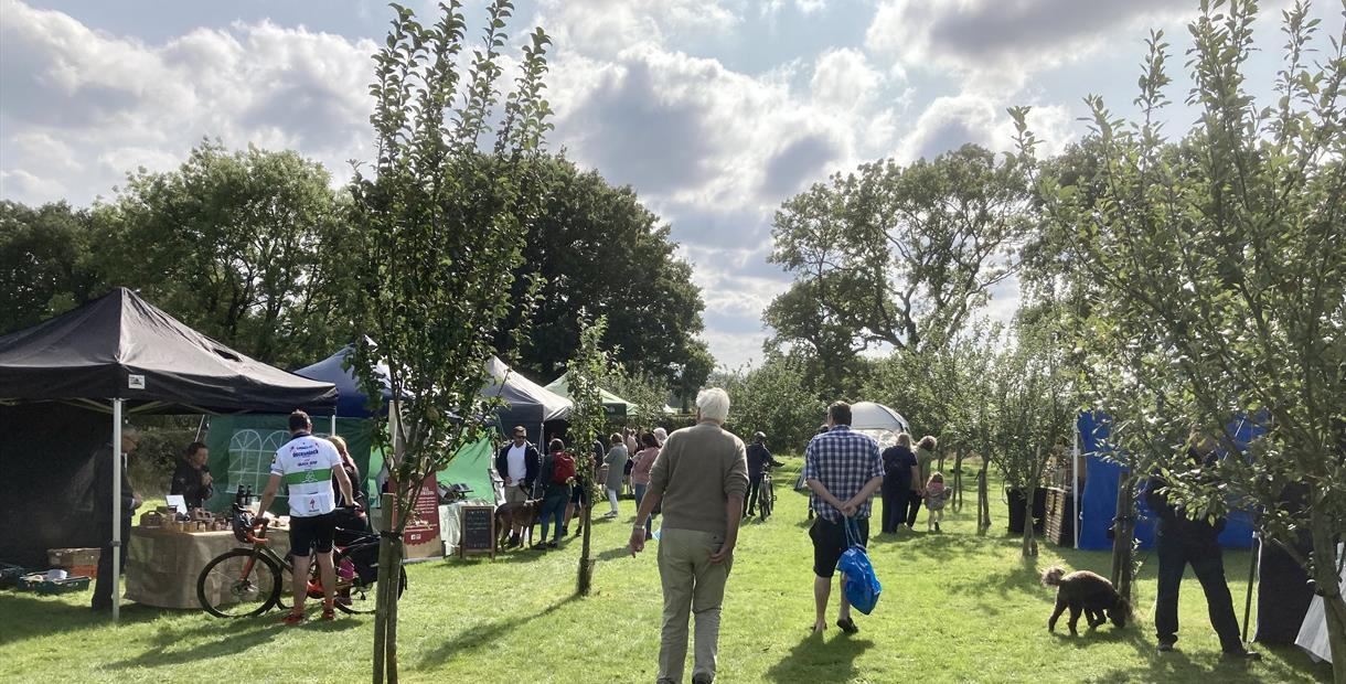 Monthly Saturday Morning Farmers Market in a Unique Setting - a beautiful Derbyshire apple orchard and vineyard - getting back to the roots of a true