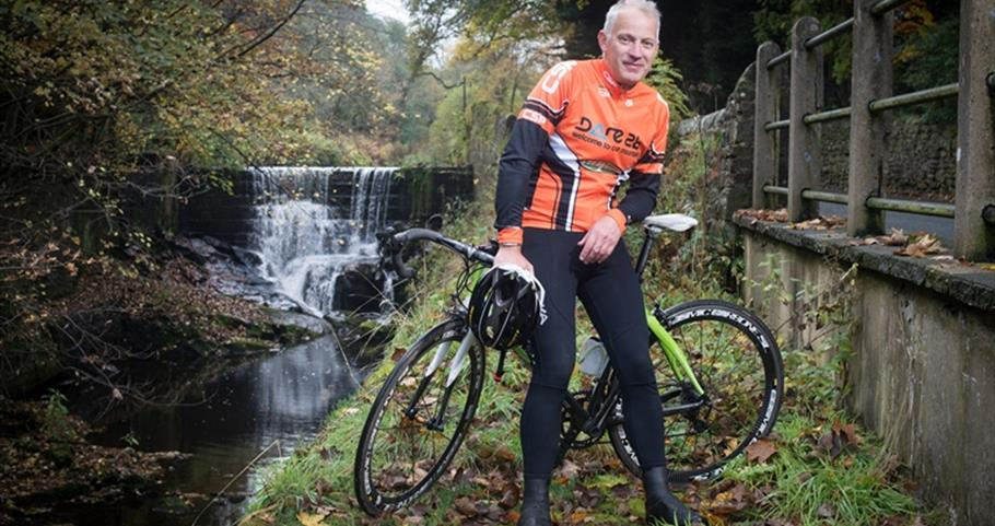 Picture of Peter and his bike near Roughlee