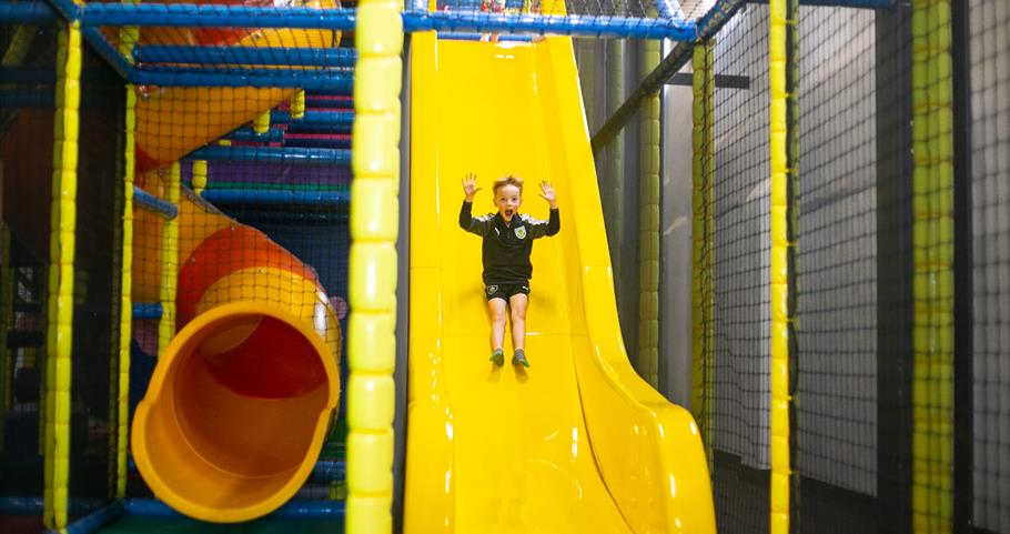 Picture of child coming down the slide at Leisure Box Pendle