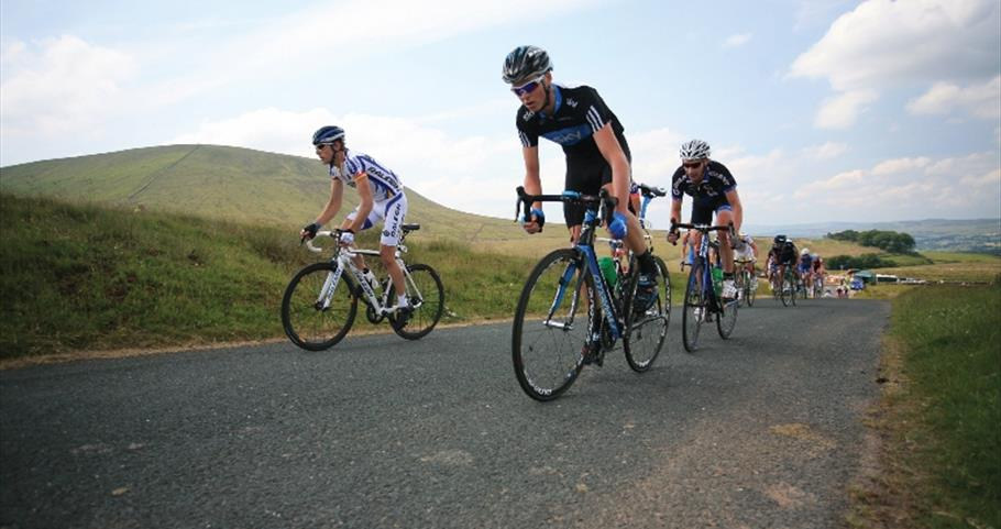 Picture of cyclists on the National Road Race at Pendle Hill