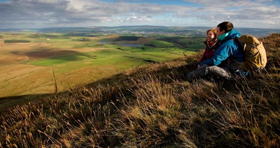 Picture of walkers on top of Pendle Hill