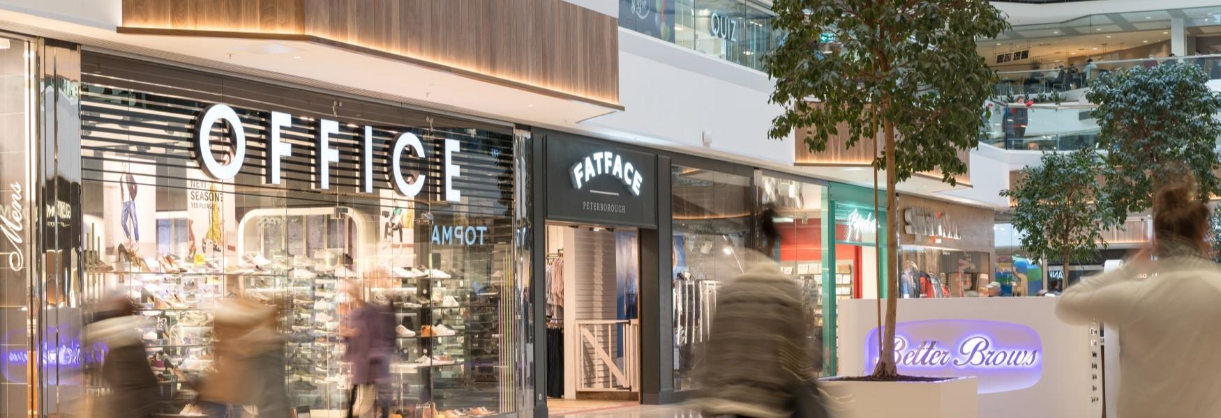 Inside Queensgate Shopping Centre - shops in the picture include Office, FatFace, Paperchase, Super Dry, Quiz, and Better Brows