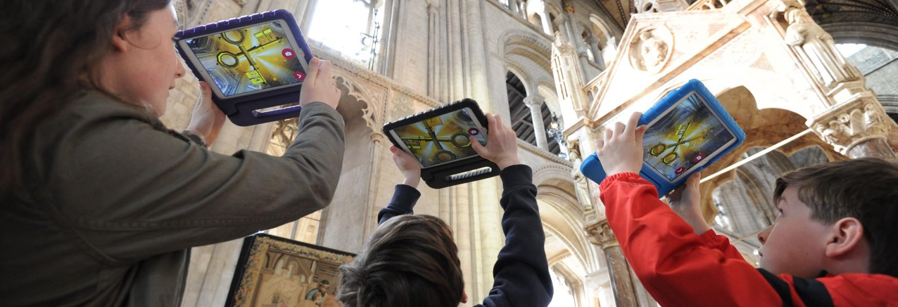 Visitors using a virtual reality device in the Cathedral