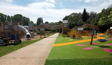 One of the outdoor play areas at Sacrewell