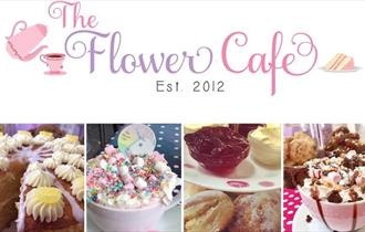 Four pictures showing a large sliced cake, a Unicorn hot chocolate, scones with clotted cream and jam and also a hot chocolate with marshmallows.