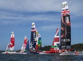 Catamarans in the SailGP race