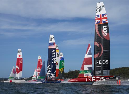 Catamarans in the SailGP race