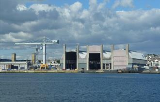 A view of the Dockyard from the water, Plymouth