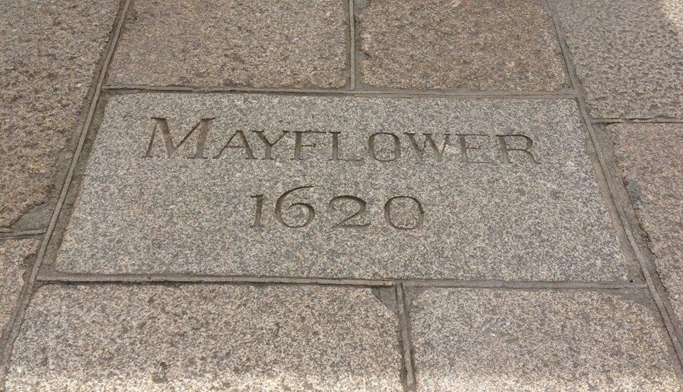 Mayflower 1620 paving slab.