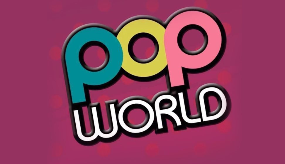 The logo of popworld displayed in bright colours against a bright pink background