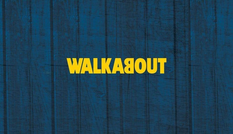 Bright yellow Walkabout logo set against a dark blue background.
