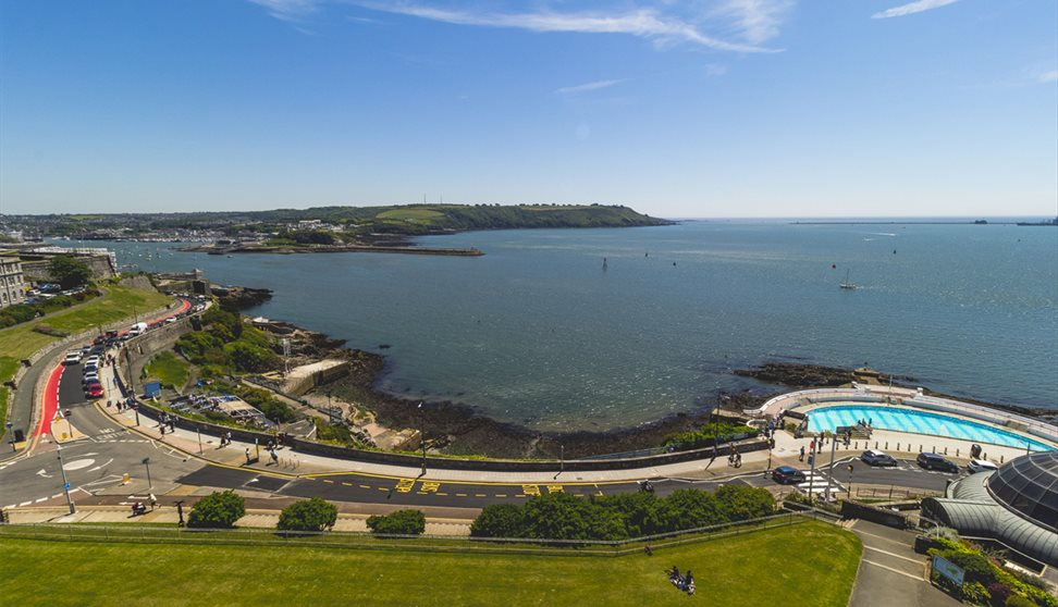 Aerial view of Plymouth Sound, Shores and Cliffs.