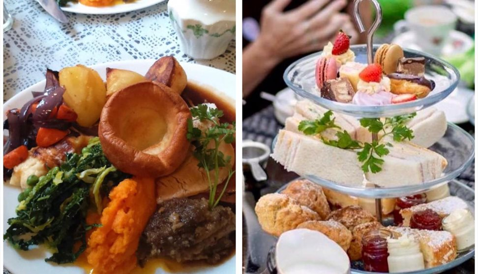 A photo of a Roast Beef dinner complete with Yorkshire pudding and vegetables and a photo of an afternoon tea on a cake stand.