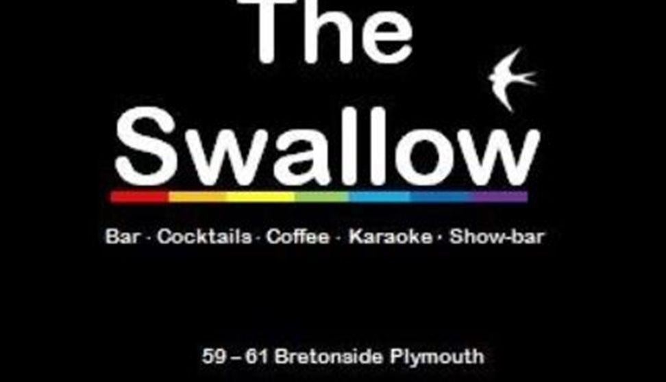 The Swallow logo in white writingwith a white swallow bird set against a black background.