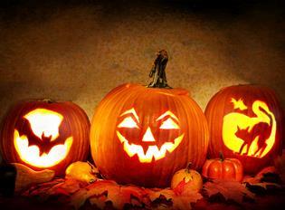 Pumpkins lit up