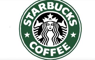 The green, black and white Starbucks Coffee logo