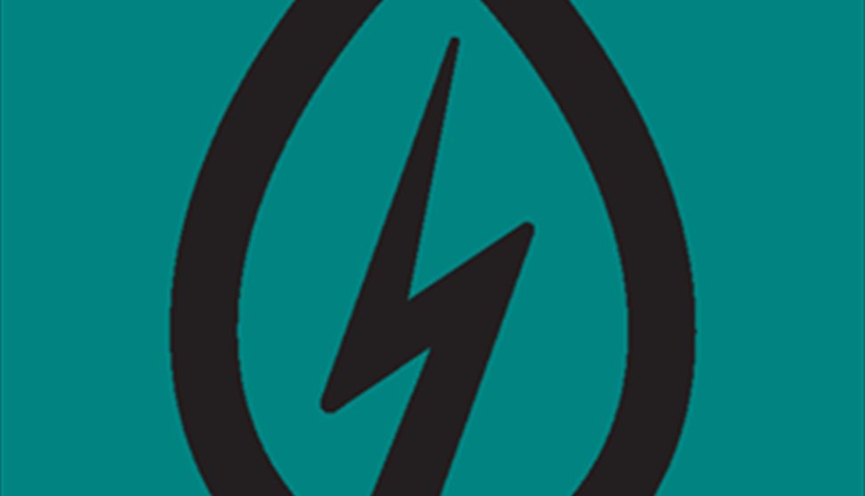 A picture of the Power Plant Café logo which is a black symbol featuring a streak of lightning against a teal background.