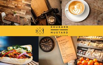 A composition of pictures showing a table and chairs inside Rhubarb and Mustard, a cup of coffee, a telephone and menu and delicious hot sandwich.
