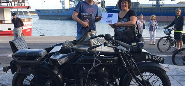 Bike of the Night 10th July, AJS Bike in photo with winner