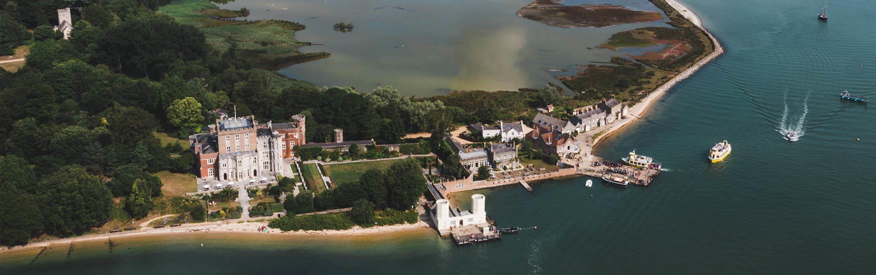 Aerial view of Brownsea island on a summers day