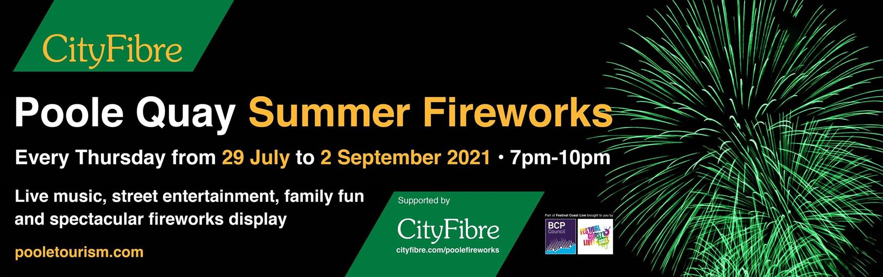 City Fibre banner advertising the Poole quay fireworks from 29th July 2021 to 2nd September 2021