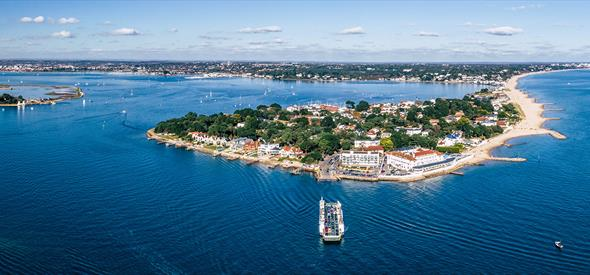 Stunning aerial shot of Sandbanks and its beaches during the height of summer in Poole