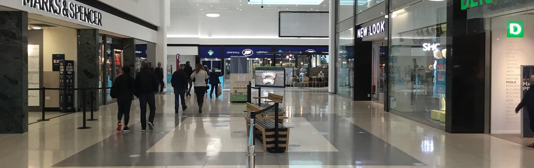 Inside the Dolphin shopping centre in Poole