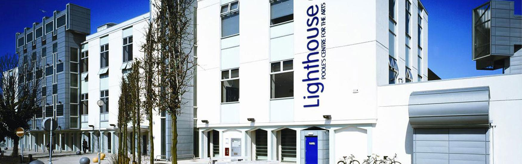 Exterior shot of the Poole lighthouse theatre illuminated by the sun
