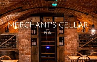 brick cellar wine bar with the words 'The Merchant's Cellar Poole'