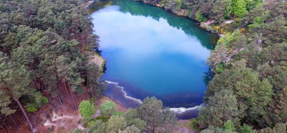 Aerial shot of Blue Pool