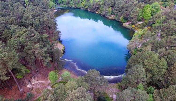 Aerial shot of Blue Pool