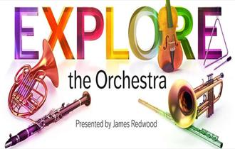'Explore the Orchestra' written in multi colour with bright coloured instraments.