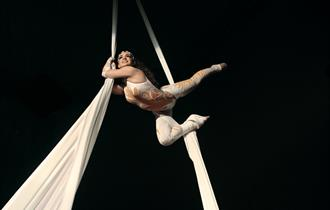 Acrobat hanging down white ropes from the ceiling