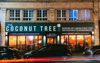 Front facade of Sri Lankan restaurant The Coconut Tree.