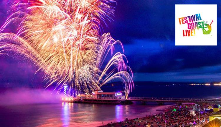 Beautiful colourful image of fireworks over Bournemouth Pier and the sea