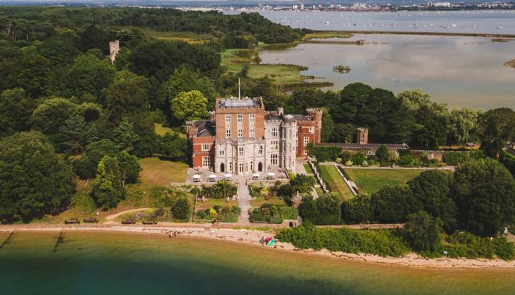 Aerial photograph of the stunning Brownsea island castle