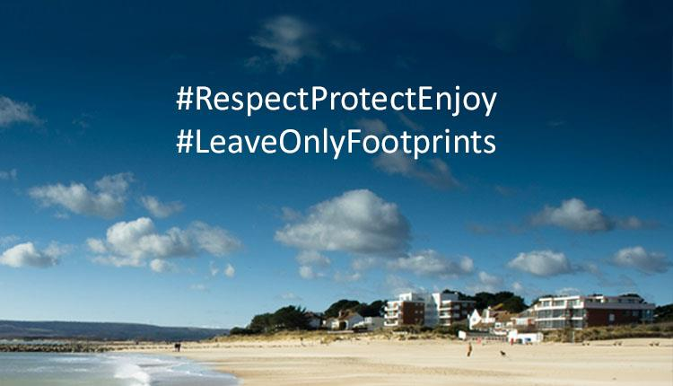 Sandbanks beach with message overlay: #RespectProtectEnjoy #LeaveOnlyFootprints