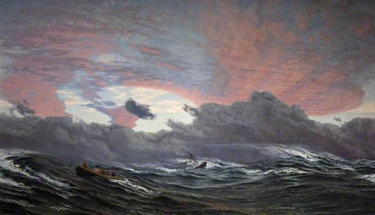 painting with dramatic clouds and waves
