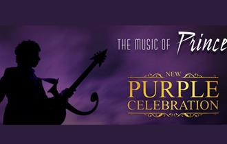 purple celebration logo in gold with purple background and silhouette