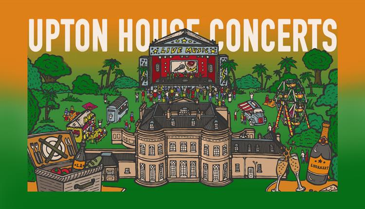 Artwork for the event with tropical garden theme in orange and green.