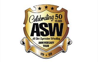 superslam celebrating 50 years emblem gold badge with black text