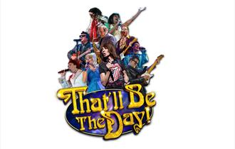 group of rock and pop star singers singing in bright colours with that'll be the day logo in the front