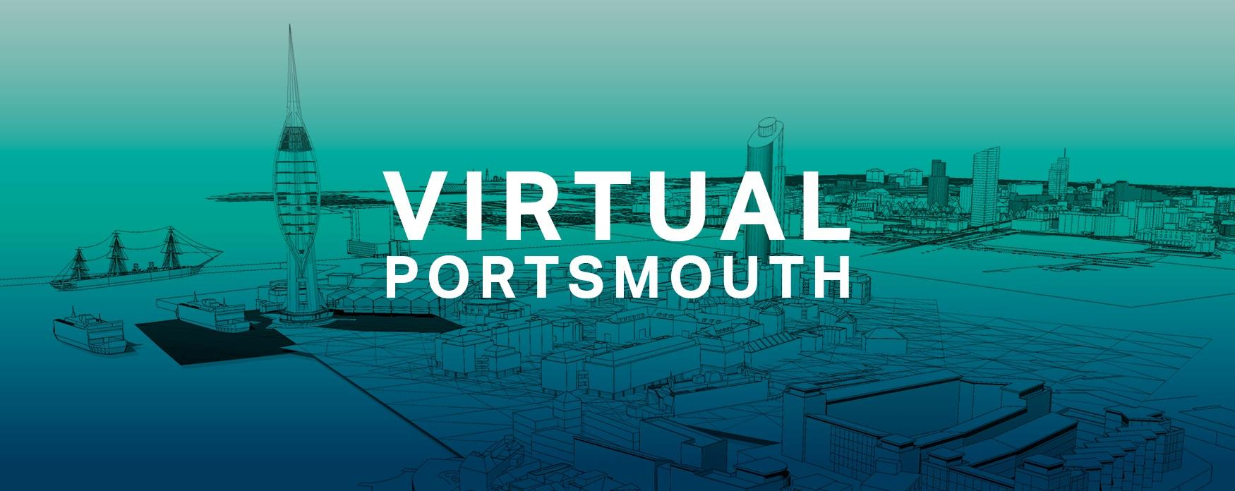 Graphic for #VirtualPortsmouth, featuring an illustration of the Portsmouth skyline