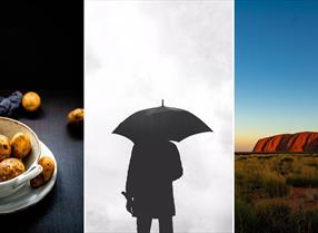 Composite image featuring some potatoes, a man with an umbrella, and Ayers Rock (Uluru)